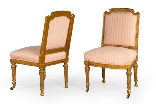 Pair of Early 20th Century Giltwood Single Chairs (1 of 4)