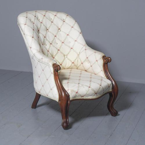 Antique Victorian Upholstered Mahogany Armchair (1 of 7)