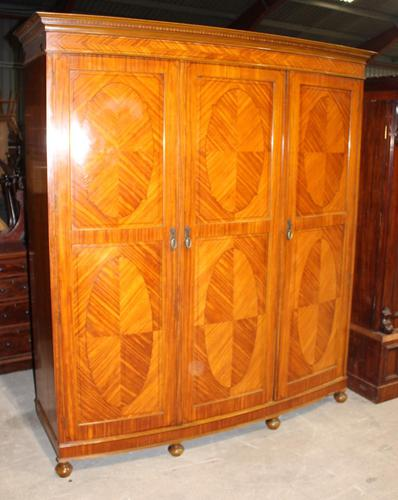 1900s Large 3 Door Satin Walnut Combination Wardrobe (1 of 7)