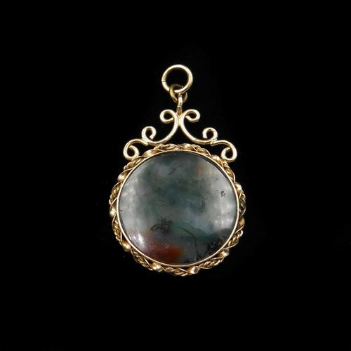 Antique Moss Agate Rolled Gold Ornate Fob Pendant (1 of 7)