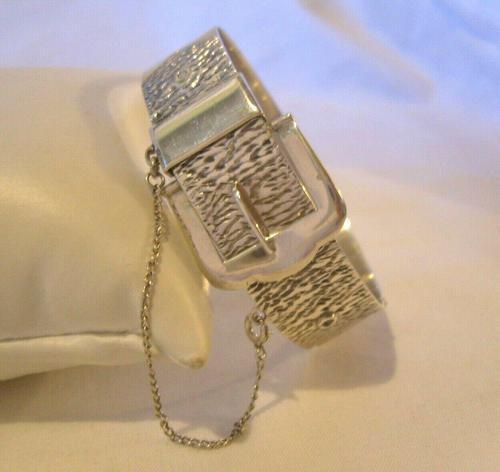 """Vintage Sterling Silver Bangle 1978 Large Buckle Bracelet 7"""" Length 28.5 Grams (1 of 11)"""