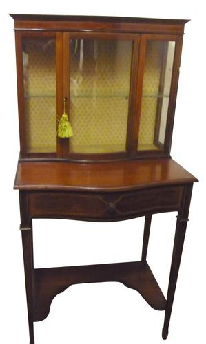 Attractive Edwardian Bow Fronted Mahogany China Cabinet c.1905 (1 of 1)