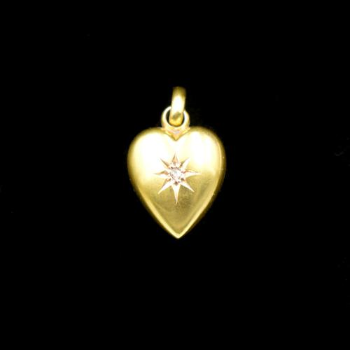 Antique Diamond Star 15ct 15K Yellow Gold Heart Pendant Charm (1 of 9)