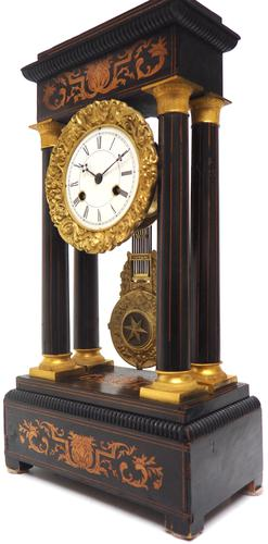 Antique Satinwood Inlaid Mantel Clock Rosewood French Striking Portico Mantle Clock (1 of 11)