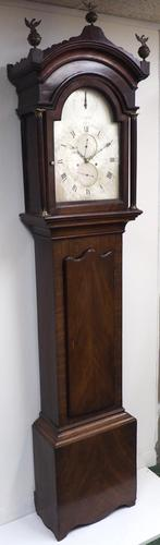 19th Century English Longcase Clock in Mahogany Case Silver Dial 5 Pillar 8-Day Signed Polhill & Newman-Lewes (1 of 5)