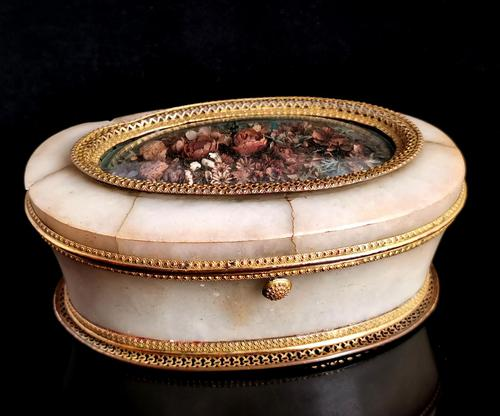 Antique French Jewellery Casket, Alabaster, Ormolu, Dried Flowers (1 of 13)