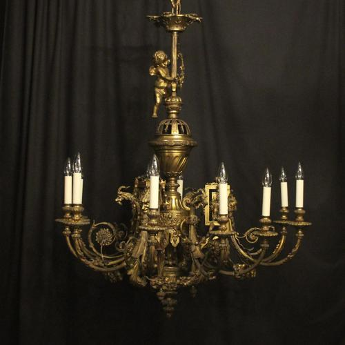 French Gilded Bronze 12 Light Antique Chandelier (1 of 12)