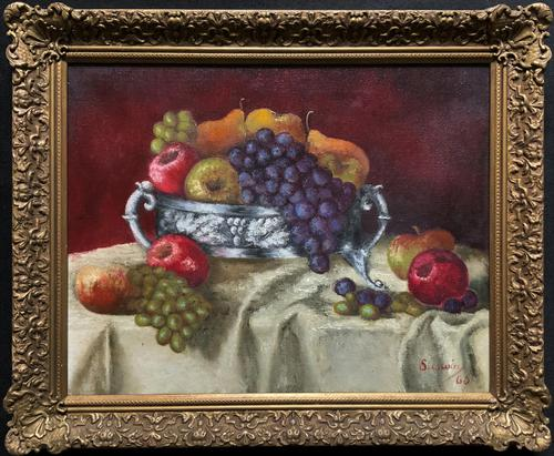 Fabulous 1960 Vintage Antique Still Life Of Fruit Study Oil On Canvas Painting (1 of 12)