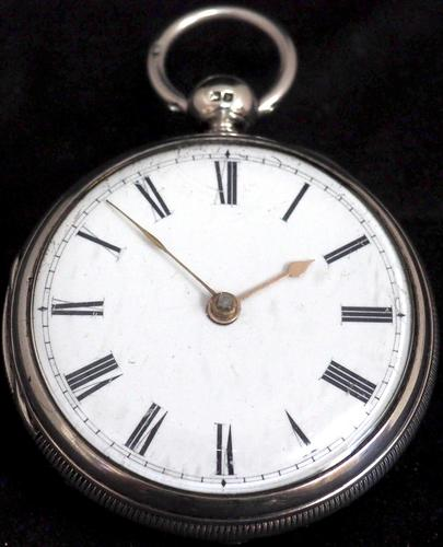 Antique Silver Pair Case Pocket Watch Fusee Lever Escapement Key Wind Enamel Dial Nice (1 of 6)