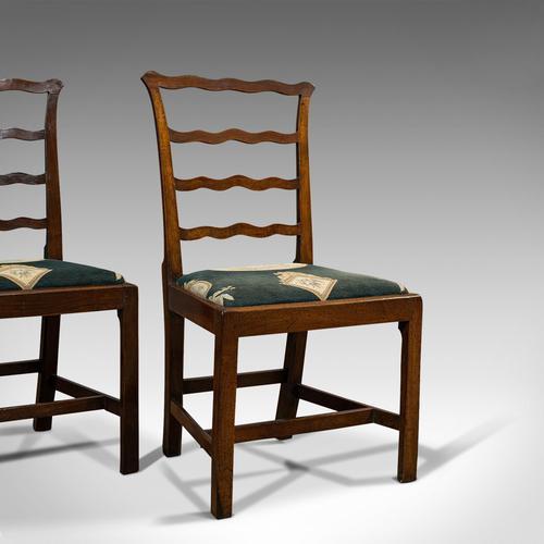 Pair of Antique Ladder Back Chairs, Irish, Mahogany, Side, Georgian c.1780 (1 of 11)