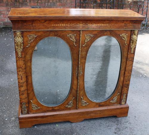 1850's Burr Walnut Pier 2 Door Cabinet with Key (1 of 6)