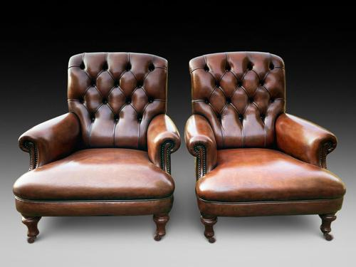 Pair of Leather Library Chairs (1 of 4)