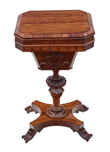 Victorian C1860 Rosewood Gothic Work Side Sewing Table Box (1 of 11)