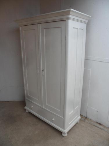 Victorian Antique Pine 2 Door 1 Piece Painted Child's / Hall Wardrobe (1 of 9)