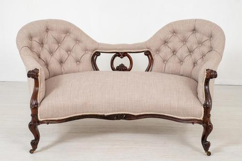 Victorian Rosewood Camel Back Settee (1 of 6)