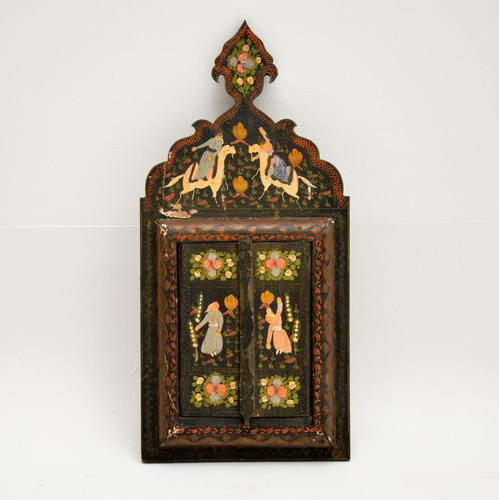 Antique Persian Painted Wood Mirror (1 of 11)