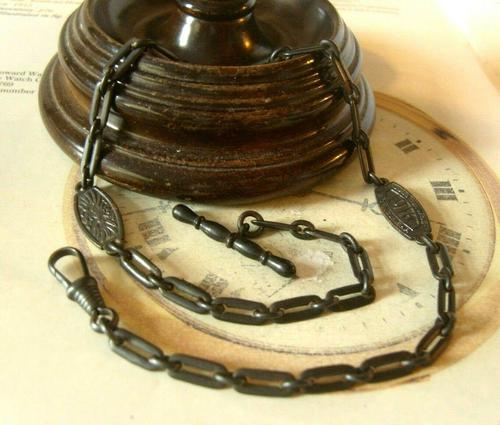 Antique German Iron Pocket Watch Chain 1916 WW1 Gold For Weapons Iron For Gold (1 of 12)
