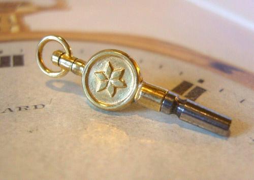 Antique Pocket Watch Chain Fob 1890s Victorian Brass & Steel Swivel Key Size 10 (1 of 9)