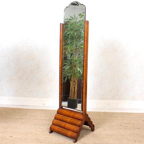 Art Deco Cheval Mirror Walnut (1 of 14)