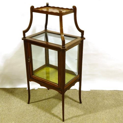 Edwardian Mahogany Centre Standing Display Cabinet with Shelf Above (1 of 2)