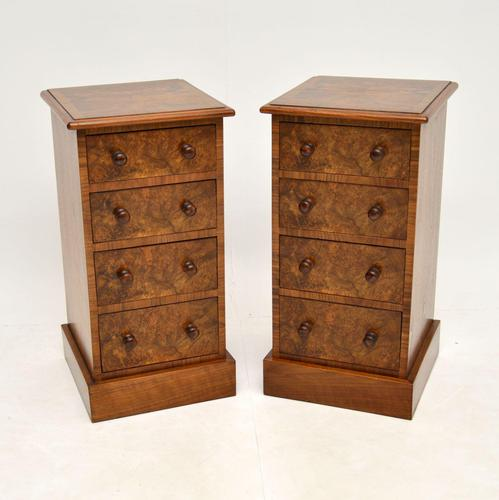 Pair of Antique Victorian Burr Walnut Bedside Chests (1 of 10)