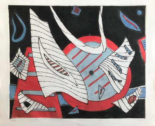 Original coloured etching 'Abstract shapes' by Henri Goetz 1909-1989. Signed and numbered 24/46 (1 of 3)