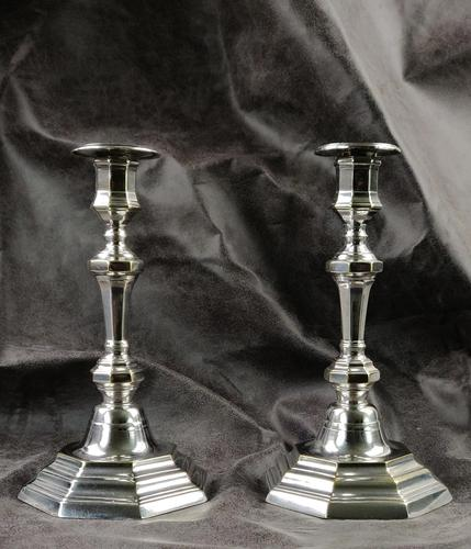 Pair of Late 18th Century Silver Plated Candlesticks (1 of 6)