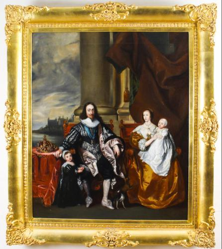 King Charles I & Henrietta After Anthony Van Dyck Royal Family Oil Portrait (1 of 6)