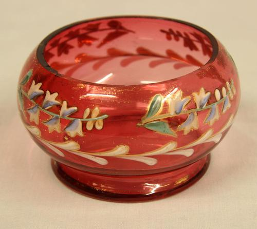 Late Victorian Cranberry Glass Decorated Salt (1 of 3)