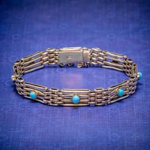 Antique Victorian Turquoise Gate Bracelet 9ct Gold c.1900 (1 of 5)