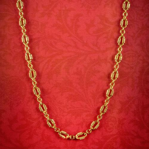 Antique Victorian Chain Necklace Silver 18ct Gold Gilt c.1900 (1 of 6)