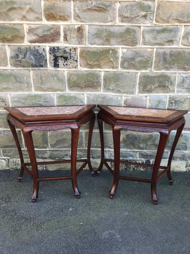 Pair of Oriental Chinese Marble Top Console Tables (1 of 12)