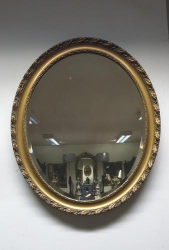 Edwardian Oval Gilt Mirror  with Oak Leaf Detailing (1 of 4)