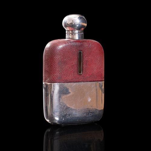 Antique Hip Flask, English, Leather, Glass, Silver Plate, Celebration Gift, 1920 (1 of 12)
