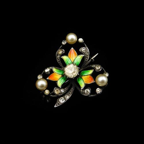 Antique Pearl Paste and Enamel Clover Sterling Silver Brooch Pin (1 of 8)