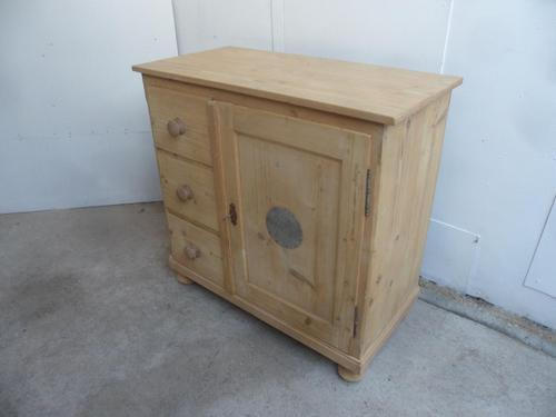 Quality 3 Drawer 1 Door Antique Pine Kitchen / Storage Cupboard to wax / paint (1 of 10)
