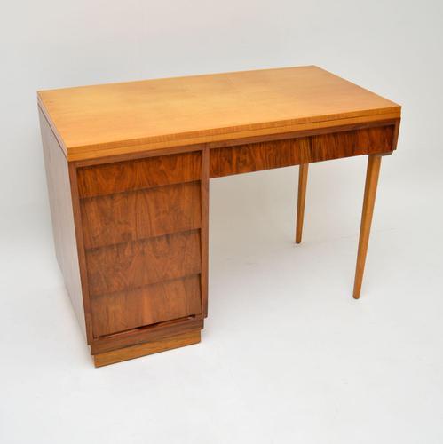 1950's Vintage Walnut & Satin Birch Desk (1 of 11)