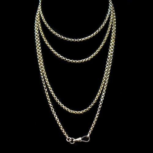 Antique Victorian 9ct 9K Gold Belcher Guard Muff Chain Necklace (1 of 9)