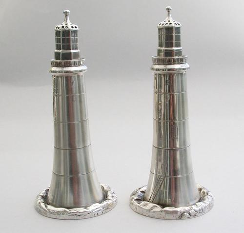 Pair of Victorian Novelty Silver Eddystone Lighthouse Peppers by Deakin & Francis, Birmingham, 1895 (1 of 13)