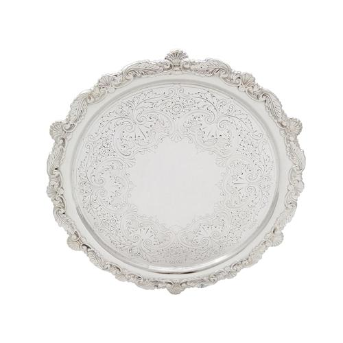 """Antique Victorian Sterling Silver 10"""" Tray / Salver 1894 (1 of 10)"""