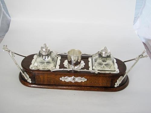 Decorative Late Victorian Oak & Silver Plate Ink Stand (1 of 9)