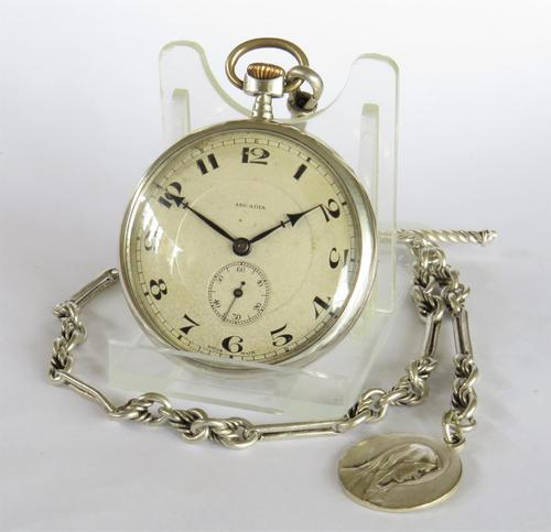 1924 Silver Arcadia Pocket Watch & Chain (1 of 4)
