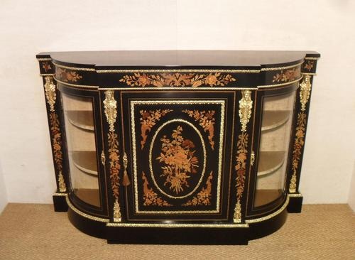 Victorian Ebonised & Marquetry Display Cabinet (1 of 7)