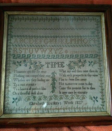 """Large Antique Needlework Sampler 1837 Elizabeth Starkey. in Frame 20"""" x 20"""" (1 of 12)"""