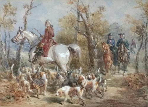 Frederick Tayler Watercolour  'The Hunting Party' (1 of 3)