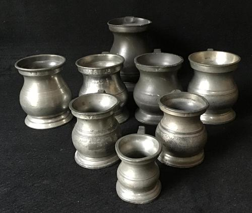 8 Victorian Pewter Measures of Various Sizes (1 of 4)