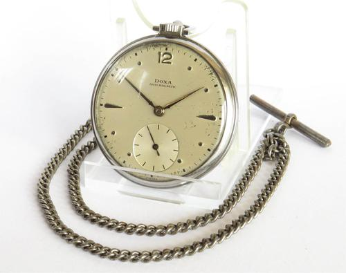 1930s Stainless Steel Doxa Pocket Watch & Chain (1 of 5)