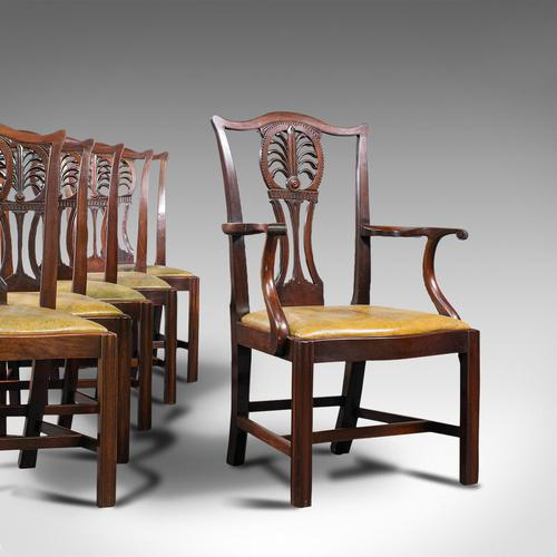 Antique, Set of 6, Dining Chairs, English, Mahogany, Leather, Seats, Victorian (1 of 12)