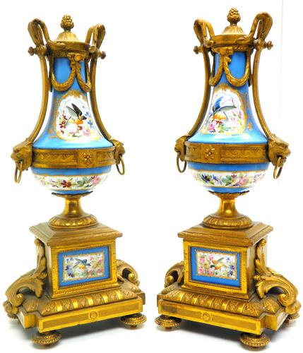 Wonderful Pair of Clock Garnitures Side Urns This Sevres Clock Garnitures (1 of 10)
