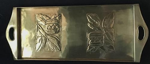 Arts and Crafts  Repousse Brass Tray (1 of 5)